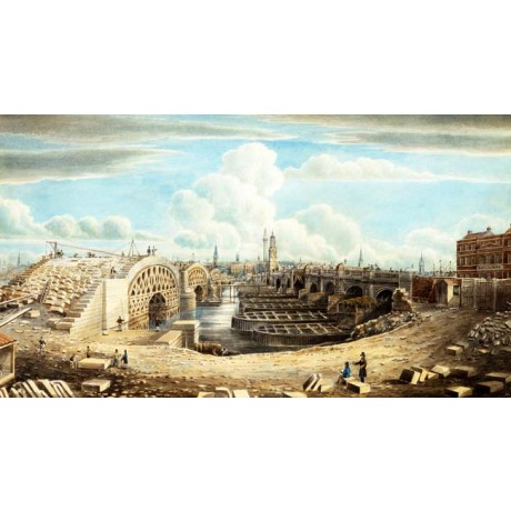 GIDEON YATES Rebuilding London Bridge ENGINEERING city river NEW CANVAS PRINT!