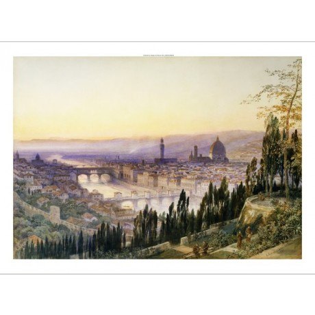 "ARTHUR SEVERN ""Florence from San Miniato"" bridge river CITY monk dome CANVAS"
