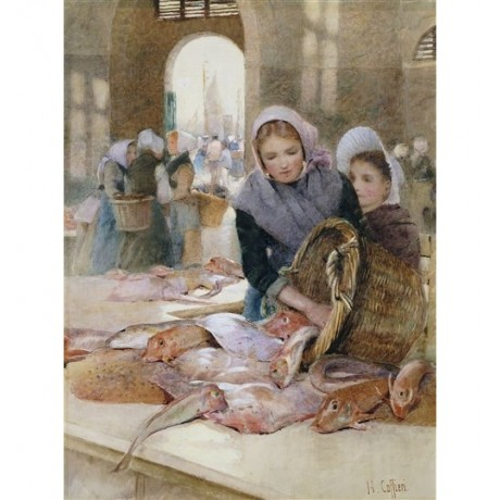 "Hector Caffieri ""Women in the Fish Market"" seafood catch spilling from basket"