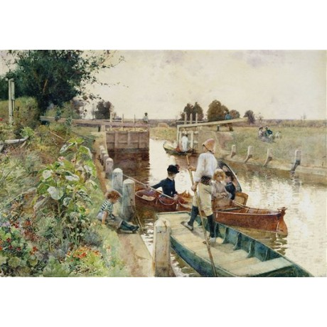 "Hector Caffieri ""Boaters in a Lock on the Thames"" boat punting towpath canal"