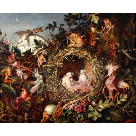 JOHN ANSTER FITZGERALD Fairies in a Bird's Nest MAGICAL woodland night egg NEW
