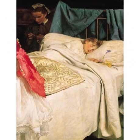 "JOHN EVERETT MILLAIS ""Sleeping"" CHILDHOOD maid flowers quilt bed dream CANVAS"