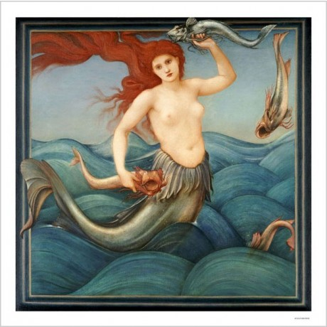 "SIR EDWARD COLEY BURNE-JONES ""Sea-Nymph"" NUDE Print various SIZES available, NEW"