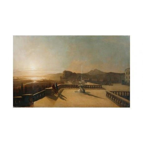 "DANBY ""Figures Moonlit Terrace"" ROMANCE bystander fountain night CANVAS PRINT"