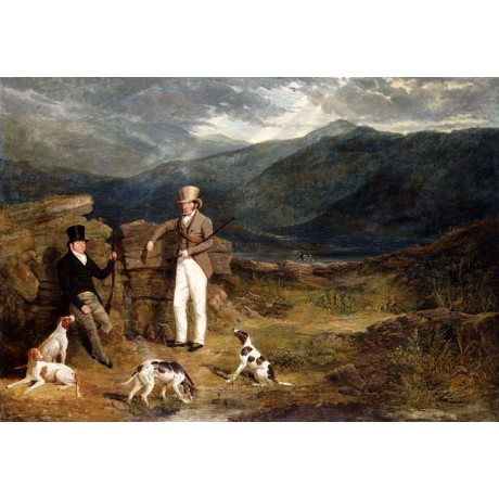 "JOHN FREDERICK HERRING ""Two Gentlemen with Pointers on a Grouse Moor"" new ART"