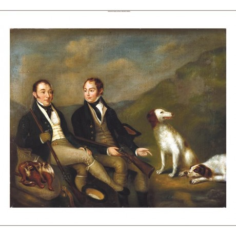 "ENGLISH SCHOOL ""Two Gentlemen with Gundogs"" new CANVAS! various SIZES, BRAND NEW"