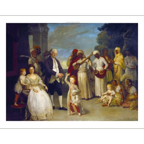 "JOHAN ZOFFANY ""Elijah Impey"" music children INDIA colonial sun NEW CANVAS PRINT"