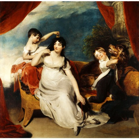 SIR THOMAS LAWRENCE Mrs Henry Baring and Two of her Children DOG family CANVAS