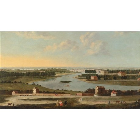 After ANTONIO JOLI View of Thames from Richmond Hill RIVER bank figures CANVAS