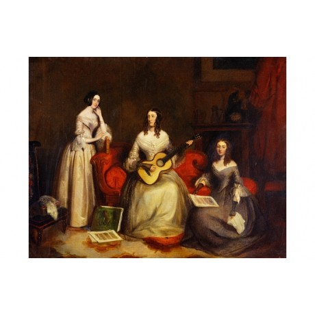 """SEVERN """"Three Sisters"""" GUITAR sewing living room women pastime NEW CANVAS PRINT"""