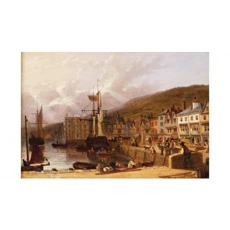 "LANCASTER ""Dartmouth Devon"" HARBOUR dock seafront ship sail fisherman CANVAS"