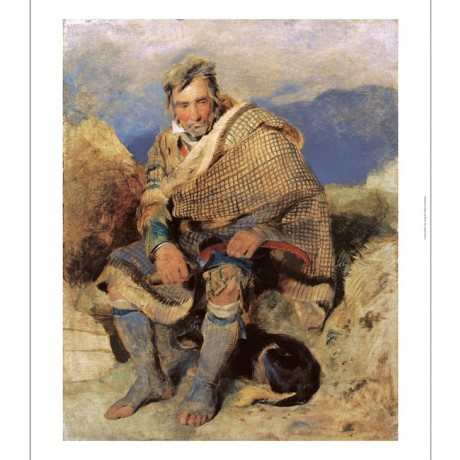 "SIR EDWIN HENRY LANDSEER ""A Highland Shepherd"" SCOTTISH kilt dog beard CANVAS"