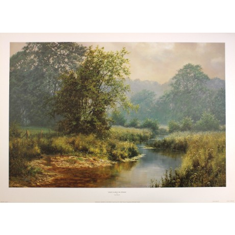 "DAVID DIPNALL ""Gently Glides Stream"" river NEW PRINT! SIZE:50cm x 75cm  RARE"