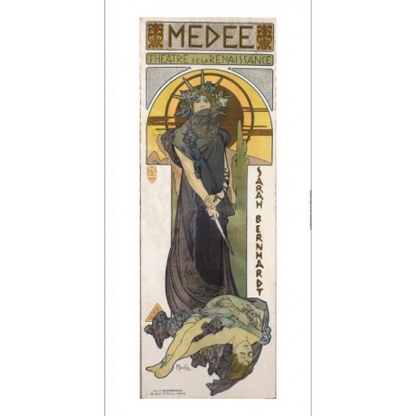 "ALPHONSE MARIE MUCHA ""Medea"" woman knife mythology choose SIZE, from 55cm up"