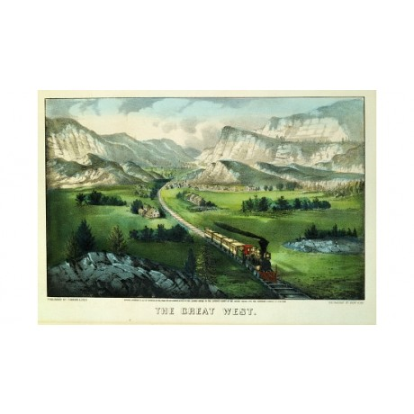 "CURRIER AND IVES ""Great West"" Rail Art Print NEW choose your SIZE, from 55cm up"