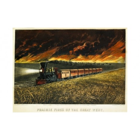 "CURRIER AND IVES ""Prairie Fires Great West"" Rail Print various SIZES available"