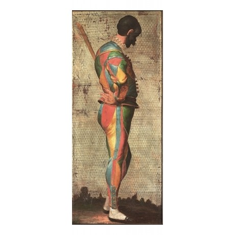 "VENETIAN SCHOOL ""A Masked Harlequin"" MULTI-COLOURED costume NEW CANVAS PRINT"