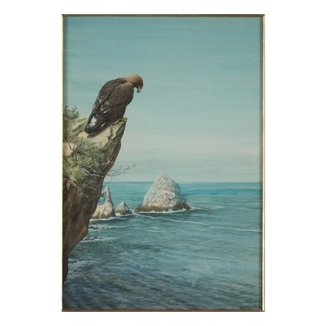 "LOUIS AGASSIZ FUERTES ""Golden Eagle on Catalina Island"" bird prey CANVAS PRINT"