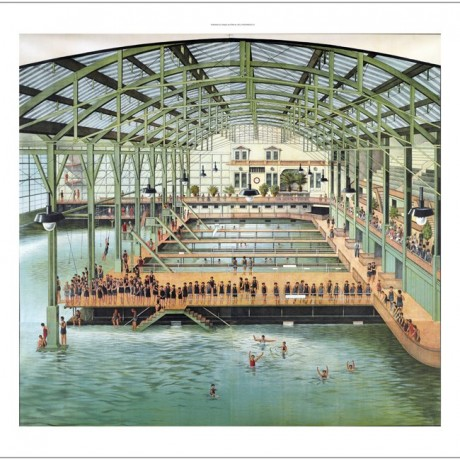 """""""Sutro Baths of San Francisco"""" SWIMMING indoor pool architecture bathers CANVAS"""