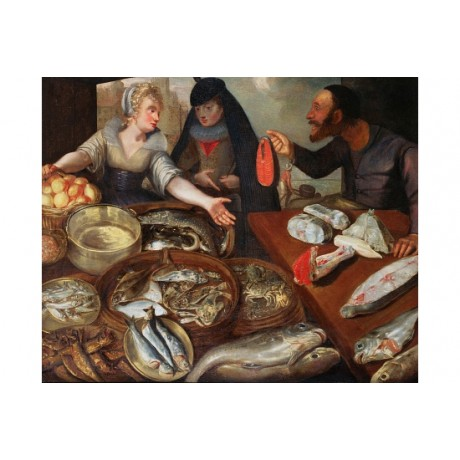 "VALKENBORCH FLEGEL ""Fish Stall"" MONGER salmon guts eel crab NEW CANVAS PRINT"