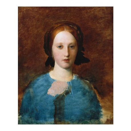 "GEORGE F WATTS ""Portrait Of Mrs Prescott Ducie"" REDHEAD bust blue CANVAS PRINT"