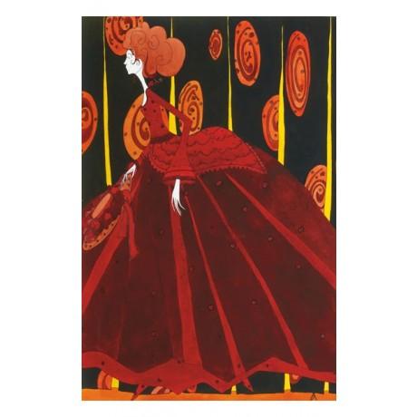 "RAVISHING ruby REDS on CANVAS ""La Promenade"" woman redhead CONTEMPORARY SCHOOL"