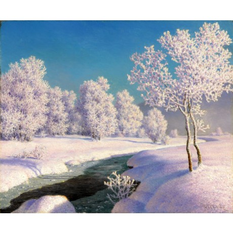 IVAN CHOULTSE Winter morning in Engadine SNOW tree stream russia sky ON CANVAS