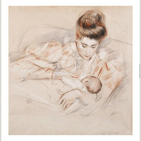 "PAUL-CESAR HELLEU ""Mother And Child"" print new choose SIZE, from 55cm up, NEW"