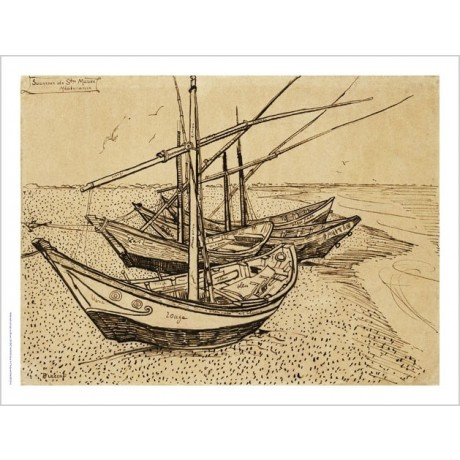 VINCENT VAN GOGH Boats On The Beach PRINTsketch choose SIZE, from 55cm up, NEW
