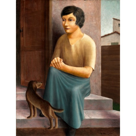 "GEORG SCHRIMPF ""M?dchen mit Hund"" GIRL with DOG sitting steps modern ON CANVAS!"