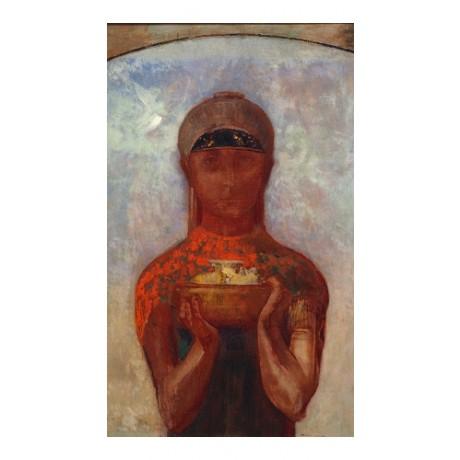 "ODILON REDON ""Cup Of Mystery With Sibyl"" PAGAN woman mystic holding NEW PRINT"
