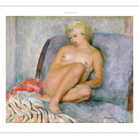 "HENRI LEBASQUE ""Femme Nue"" nude woman bed CANVAS choose your SIZE, from 55cm up"