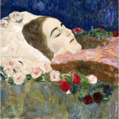 GUSTAV KLIMT Miss Ria Munk on her Deathbed PEACEFUL woman flowers CANVAS PRINT
