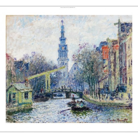 "CLAUDE MONET ""Canal A Amsterdam"" Church ON CANVAS choose SIZE, from 55cm up, NEW"
