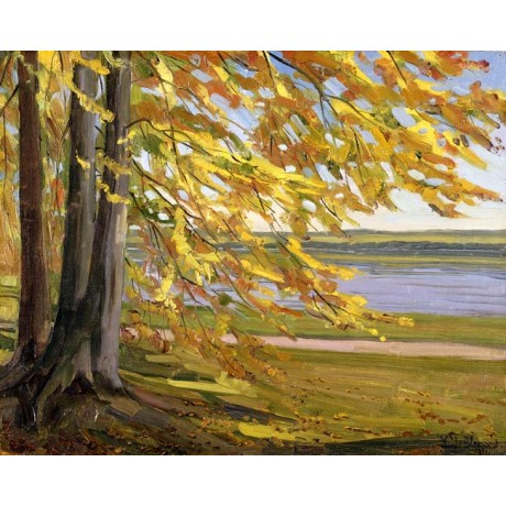 WILHELM TRUBNER Lake Starnberg TRANQUIL autumn day tree leaves CANVAS EDITION!