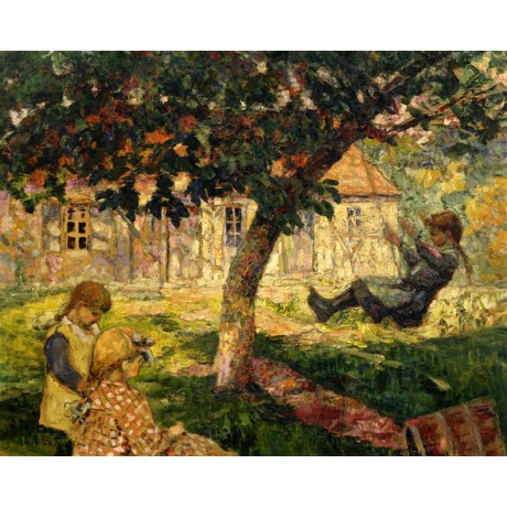 VICTOR CHARRETON The Swing happy CHILDHOOD family fun DAPPLED shade garden NEW