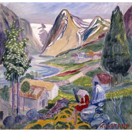 NIKOLAI ASTRUP Kari at Sunde girl ALONE thinking sitting in VALLEY colours NEW
