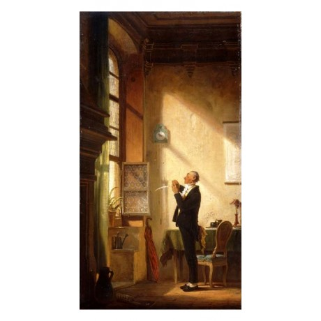 CARL SPITZWEG A Writer Sharpening his Quill PREPARATION light window NEW PRINT