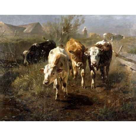 "ANTON BRAITH ""Gang zur Tranke"" CATTLE on the move bystander fence CANVAS PRINT"