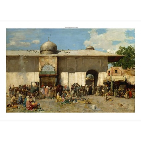 ALBERTO PASINI Oriental Market ARABIC asian stalls dome birds NEW CANVAS PRINT