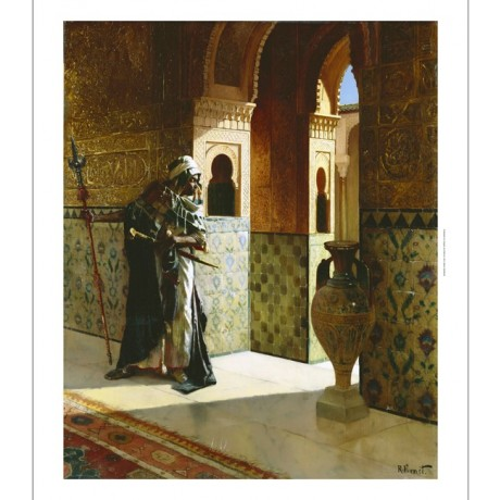 "RUDOLPHE ERNST ""Moorish Guard Alhambra"" SWORD spear tiles vase NEW CANVAS PRINT"