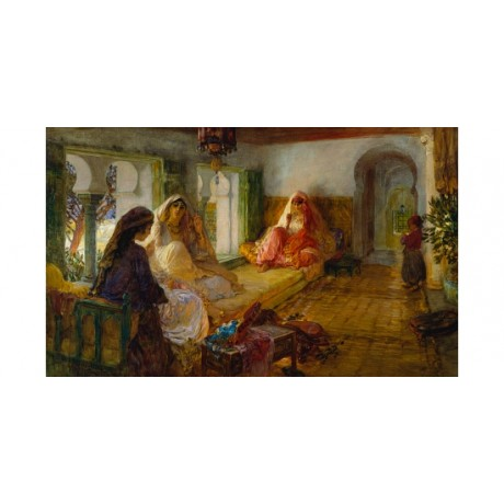 "BRIDGMAN ""In The Seraglio"" TURKISH sitting child orientalism NEW CANVAS PRINT"