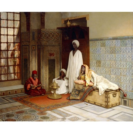 LUDWIG DEUTSCH Guards of the Harem ARABIC woman hookah tiles turban NEW CANVAS