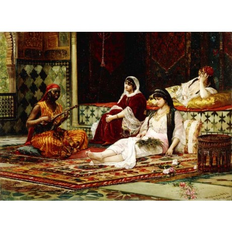 "FILIPPO BARATTI ""In the Harem"" WOMEN reclining listening to music african NEW!"