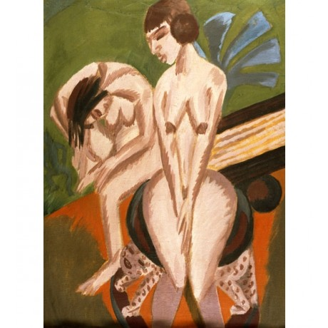 "ERNST LUDWIG KIRCHNER ""Two Nudes in the Room"" CURVACEOUS sitting on stool NEW!!"