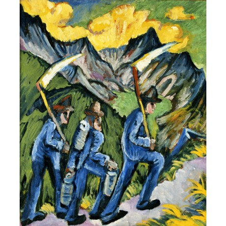 ERNST LUDWIG KIRCHNER Alpleben Triptych men CLIMBING alps friendship ON CANVAS
