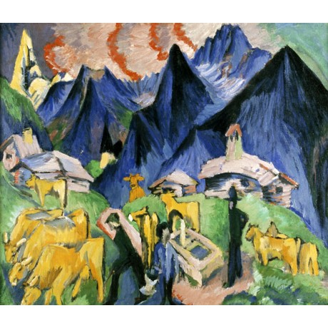 ERNST LUDWIG KIRCHNER Alpleben Triptych herd MOUNTAINOUS people CANVAS PRINT!!