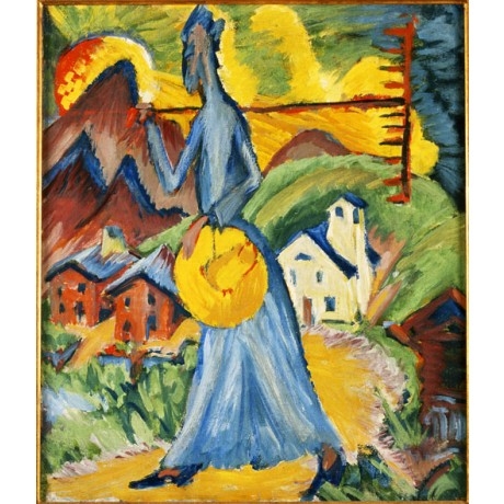 ERNST LUDWIG KIRCHNER Alpeben Triptych woman walking SUNSET mountain ON CANVAS
