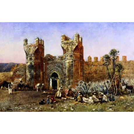 EDWIN LORD WEEKS At the Gate of Shelah TRAVELLER horse camel building rug NEW!