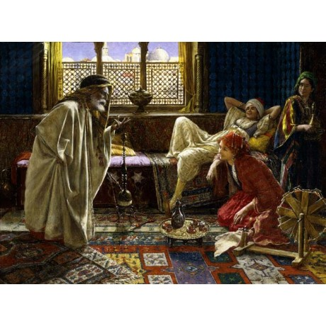 "DANIEL ISRAEL ""Entertaining the Harem"" STORYTELLER amusing women CANVAS PRINT"